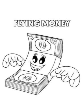 Emoji Movie Coloring Pages Printable Flying Money