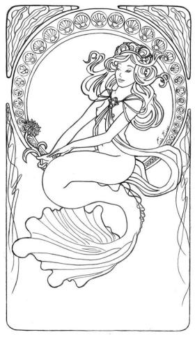 Mermaid Coloring Sheets for Adult oc37s