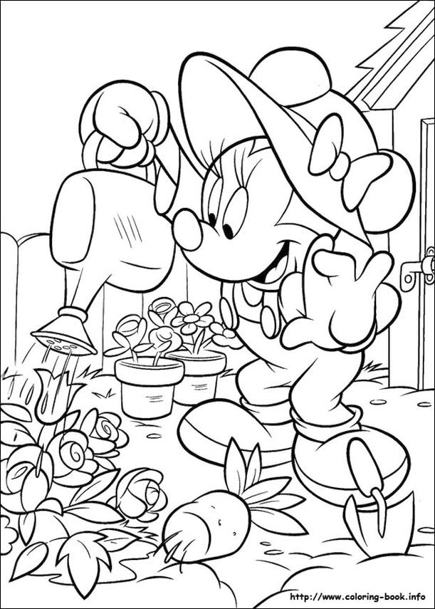 Minnie Mouse Coloring Pages Minnie Watering Flowers