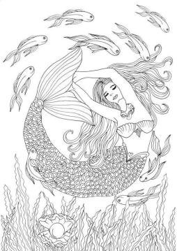 Realistic Mermaid Coloring Pages for Adult cr12l