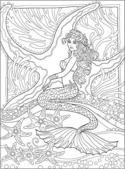Realistic Mermaid Coloring Pages for Adult wnd03