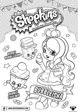 Shopkins Coloring Pages Printable Bubbleisha Likes Bubble Gum
