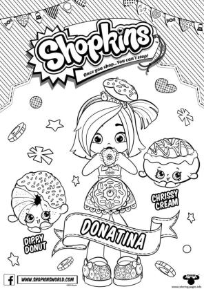 Shopkins Coloring Pages Printable Donatina with Dippy Donut
