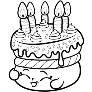 Shopkins Coloring Pages for Kids Birthday Cake Wish
