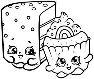 Shopkins Coloring Pages for Kids Cake Bestfriends