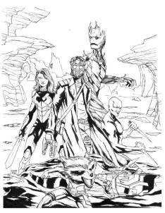 Superhero Coloring Pages For Adult All Members of Guardians of the Galaxy