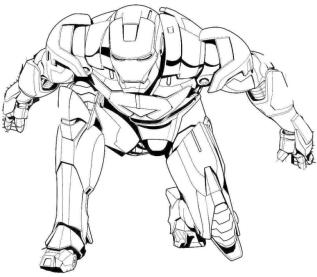 Superhero Coloring Pages Free Online Ironman Landing on His Knee
