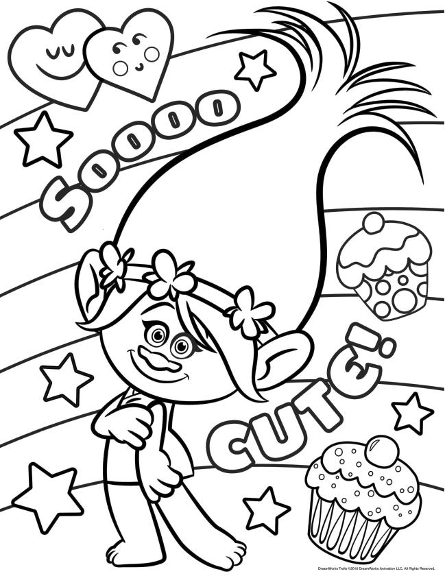 Trolls Coloring Pages Cute Troll Girl