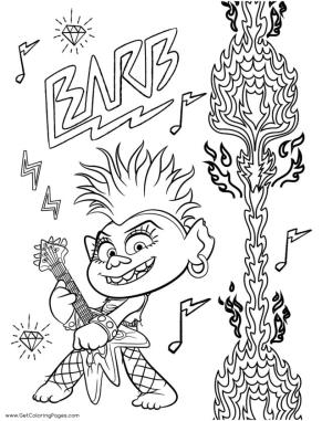 Trolls World Tour Movie Coloring Pages Barb Is a Rock Queen