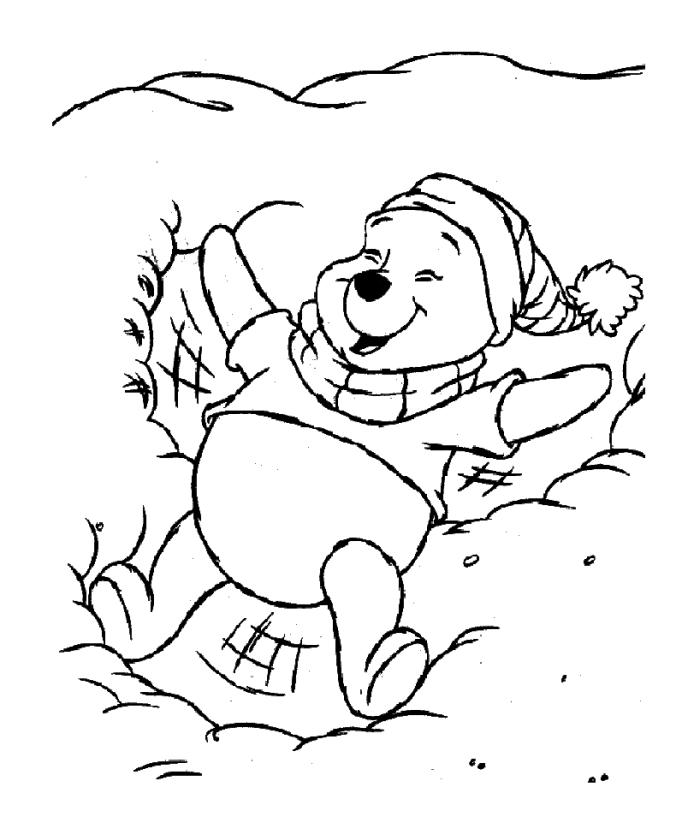 Winnie the Pooh Coloring Pages Easy Pooh Making Snow Angel on the Ground
