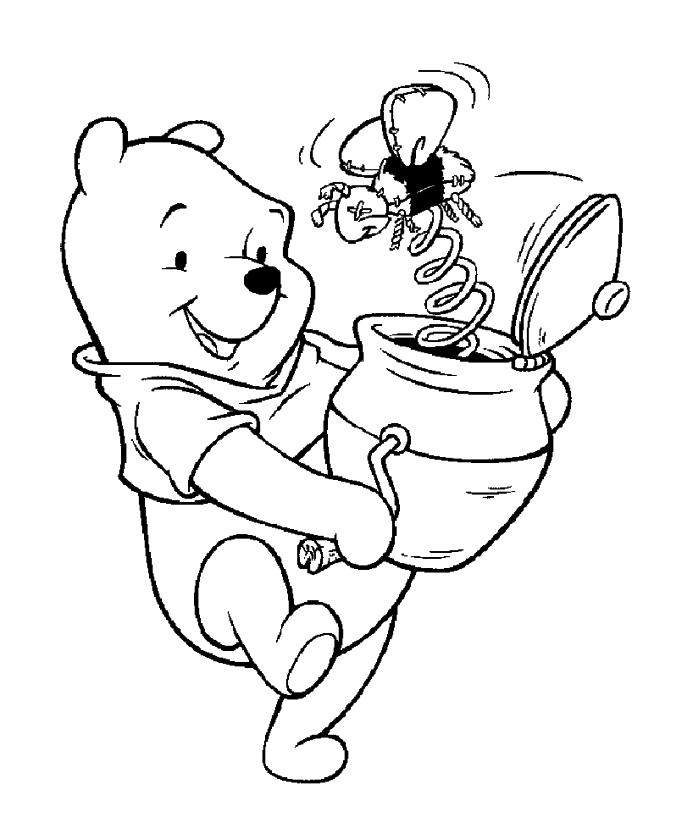 Winnie the Pooh Coloring Pages Easy Pooh Playing with His Favorite Toy