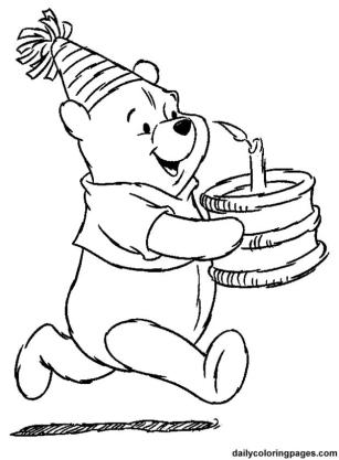 Winnie the Pooh Coloring Pages Free Pooh Holding a Birthday Cake