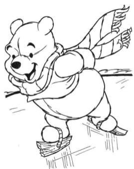 Winnie the Pooh Coloring Pages Free Pooh Ice Skating on Frozen Lake