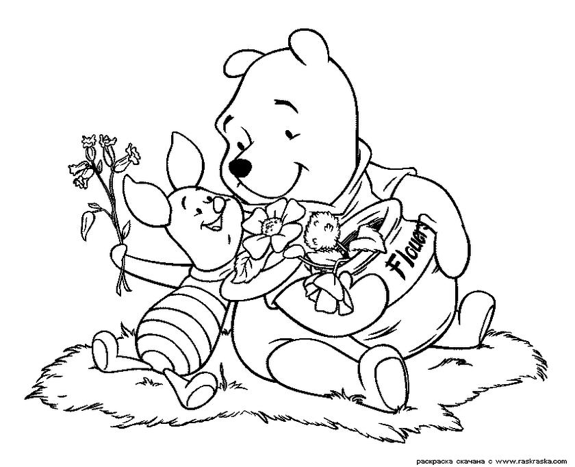 Winnie the Pooh Coloring Pages Free Pooh and Piglet Making a Bouquet