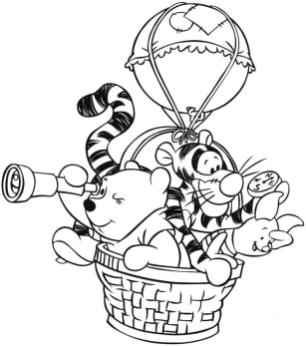 Winnie the Pooh and Friends Coloring Pages Playing Adventure in Hot Air Balloon