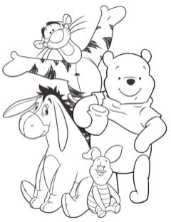 Winnie the Pooh and Friends Coloring Pages Pooh and His Friends Are a Happy Bunch
