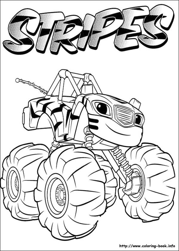 Blaze Coloring Pages Stripes Monster Truck