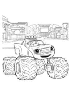 Blaze and Friends Coloring Pages Blaze in an Industrial City