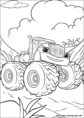 Blaze and Friends Coloring Pages Crusher Is Actually Friendly
