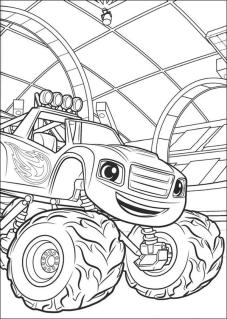 Blaze and Friends Coloring Pages Happy Blaze in a Garage