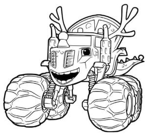Blaze and Friends Coloring Pages Zeg the Deer Truck