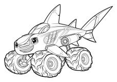 Blaze and the Monster Machines Coloring Pages Blaze the Shark Truck