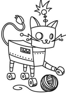 Coloring Pages of A Robot Cat Robot