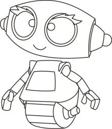 Coloring Pages of A Robot Little Robot with Uni Wheel