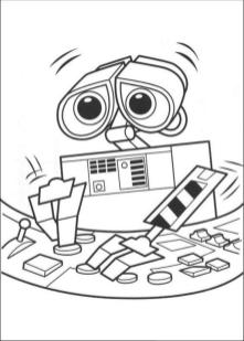 Coloring Pages of A Robot Wall E from Disney
