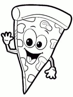 Cute Pizza Coloring Pages Friendly Italian Pizza Slice
