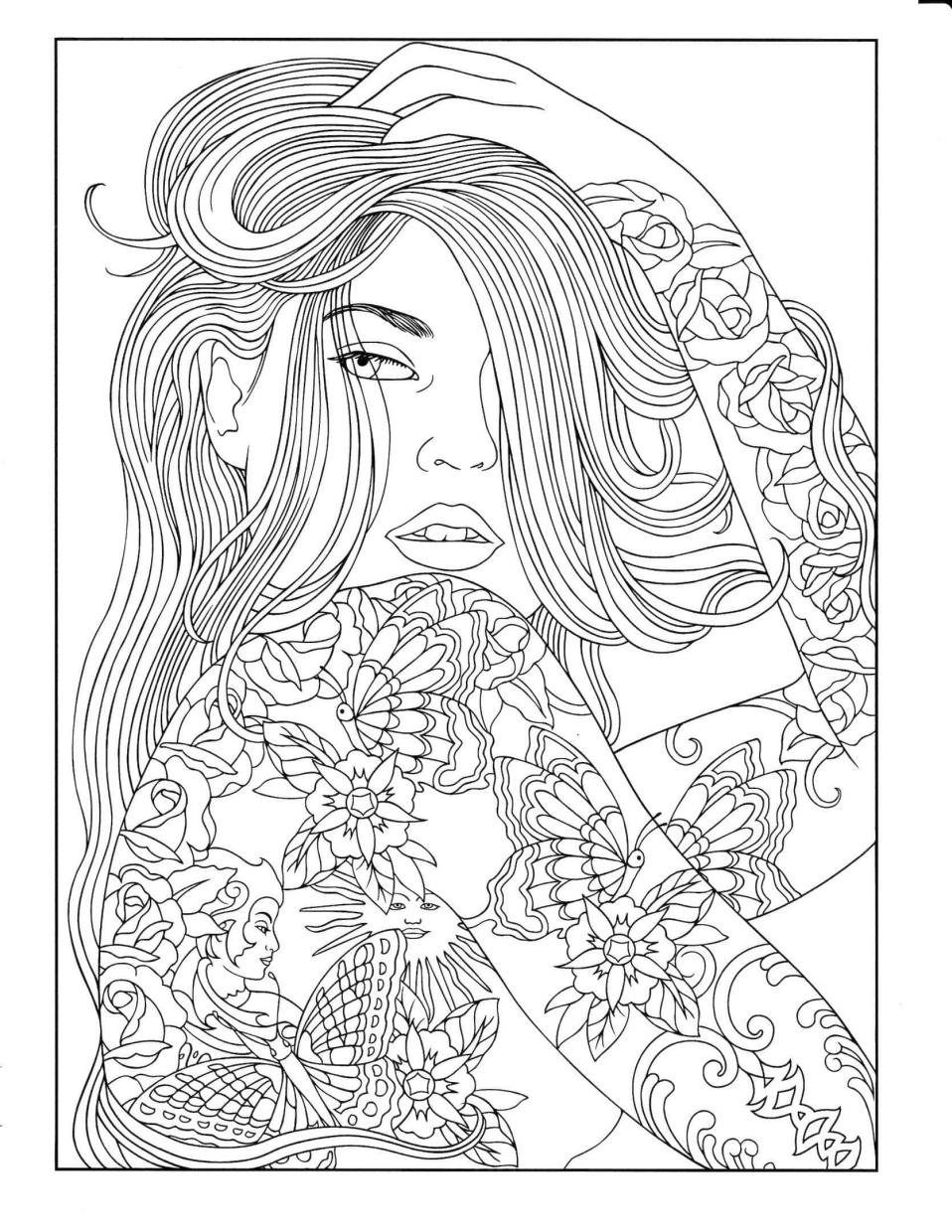 Cute and Hard Coloring Pages Girl with Tattoos