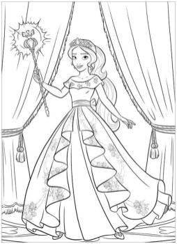 Elena of Avalor Coloring Pages Elena Holding Her Magic Wand