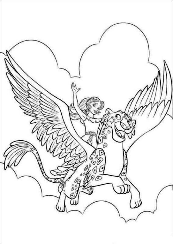 Elena of Avalor Coloring Sheet Elena Flying with Jaquin