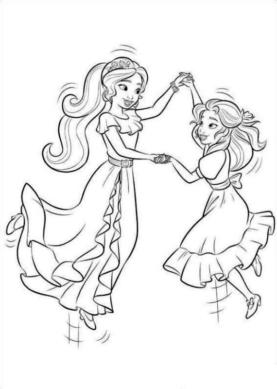 Elena of Avalor Coloring Sheet Elena and Isabel Dancing