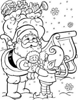 Hard Coloring Pages Online Santa Klaus Giving Presents