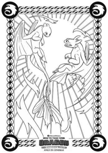 How to Train Your Dragon Coloring Pages Free Toothless Meets Light Fury