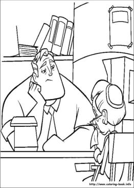 Incredibles Coloring Pages Free Mr. Incredible Working in an Office