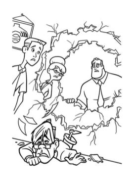 Incredibles Coloring Pages Printable Mr. Incredible Throwing His Boss Through Walls