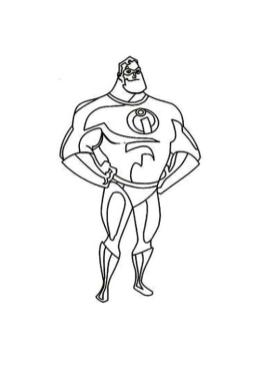 Incredibles Coloring Pages Printable Mr. Incredible the Strong Man