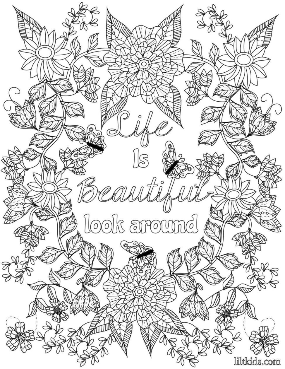 Inspirational Coloring Pages for Adult Life Is Beautiful