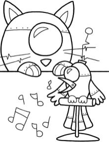 Robot Coloring Book Pages Animal Robots of Cat and Bird
