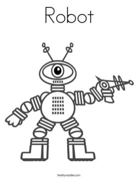 Robot Coloring Book Pages One Eyed Robot with Laser Gun