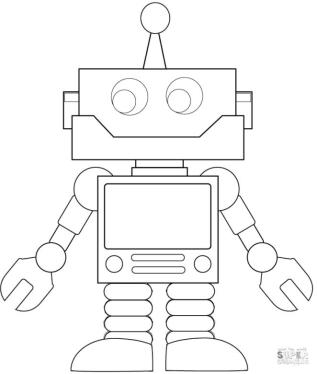 Robot Coloring Pages Simple Square Cartoon Robot