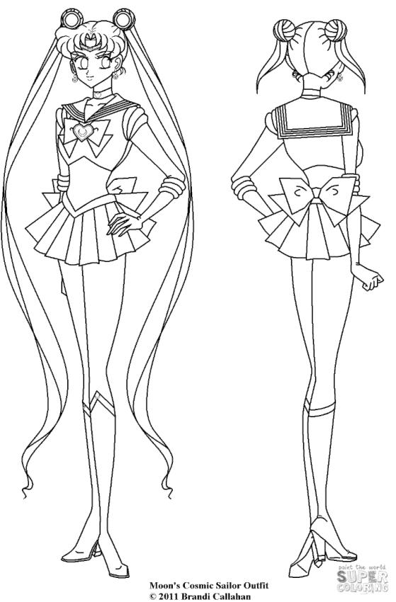 Sailor Moon Coloring Pages Cosmic Outfit