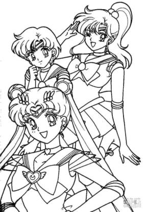 Sailor Moon Coloring Pages Three Cute Anime Girls