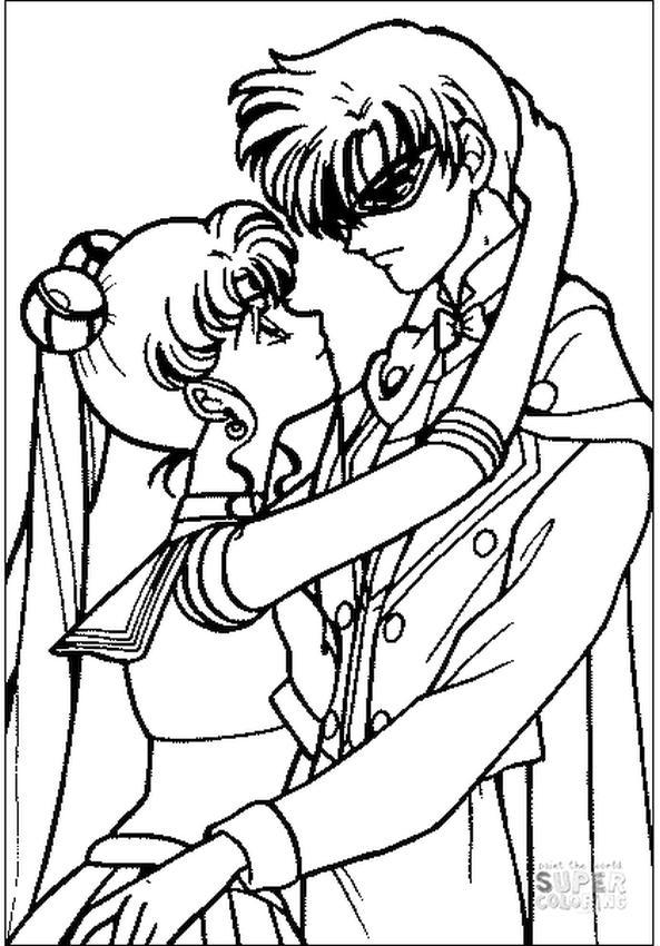 Sailor Moon Coloring Pages Usagi Tsukino and Mamoru Chiba