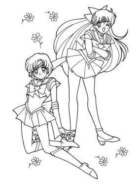 Sailor Moon Coloring Pages for Girls Usagi and Ami
