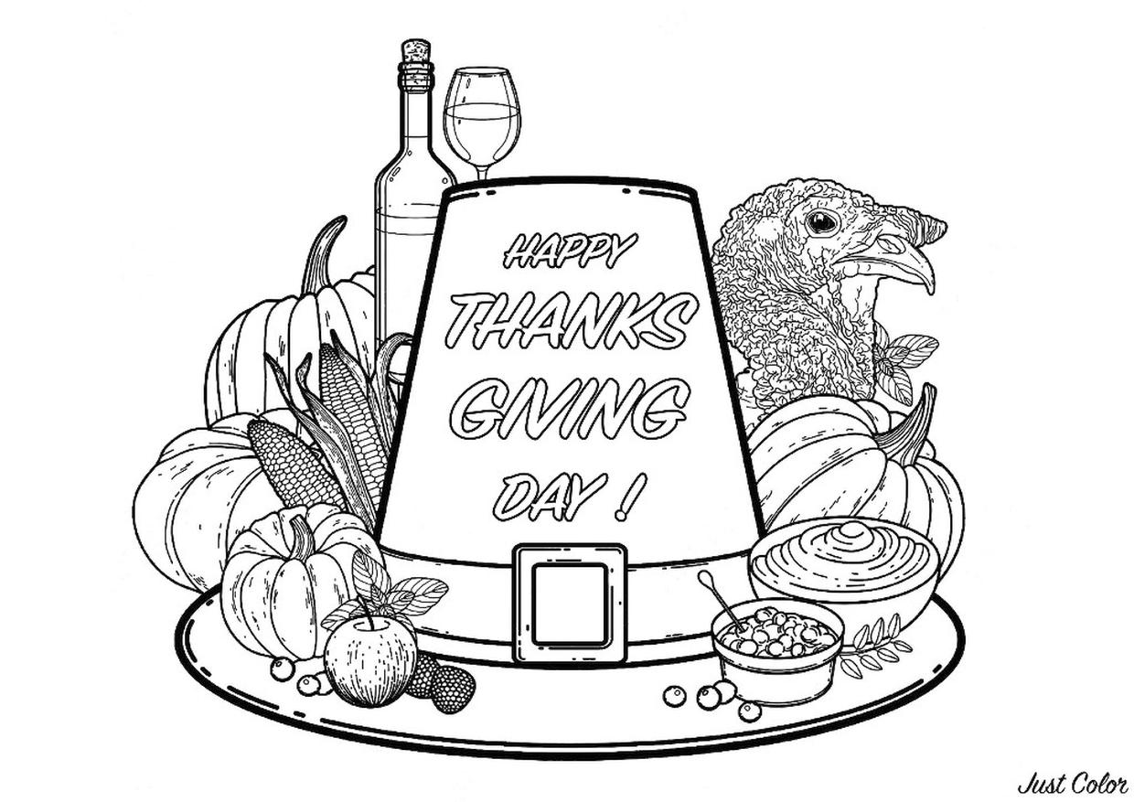 Thanksgiving Adult Coloring Pages Turkey Head Pumpkin and Corn