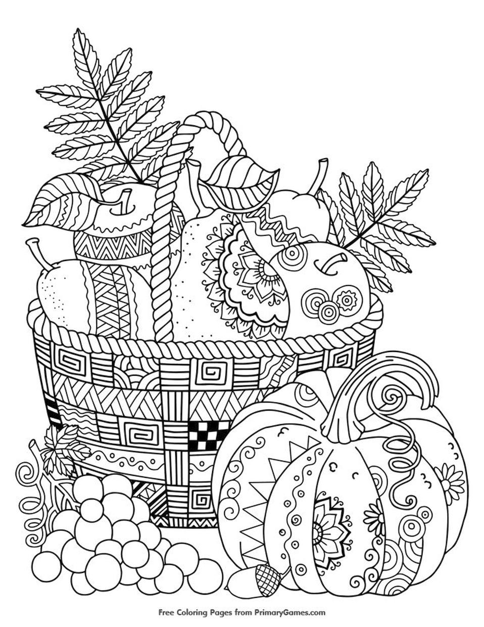 Thanksgiving Coloring Pages for Adult Free Printable A Basket of Fall Crops