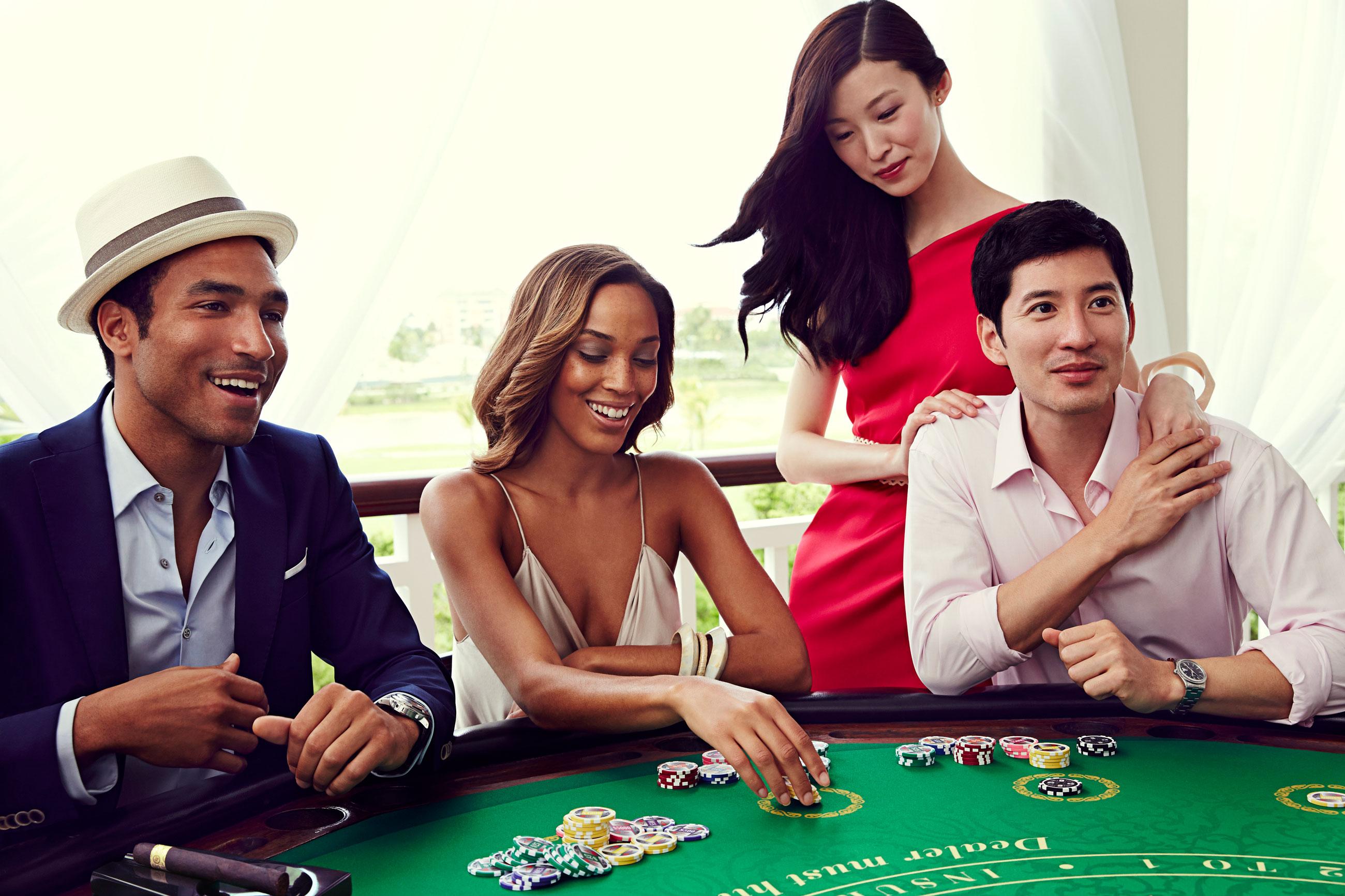 Group playing blackjack